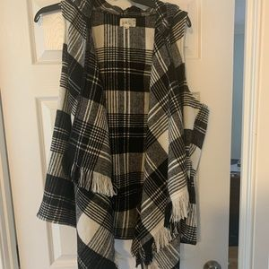 Plaid drape vest with hood
